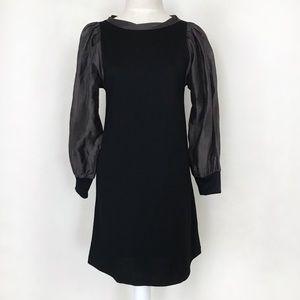 Alice + Olivia Black Wool Dress Linen/Silk Sleeves